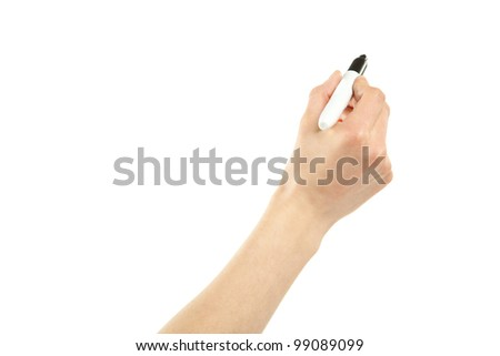 Closeup of a female hand writing with marker isolated on white; copy space - stock photo
