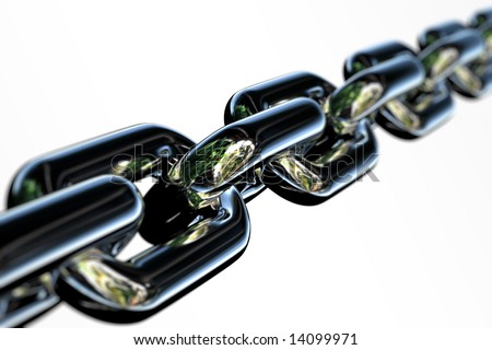 Closeup of a few links of a chrome chain with very shallow depth of field