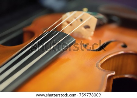 Closeup of a fiddle (violin), Edinburgh, Scotland.