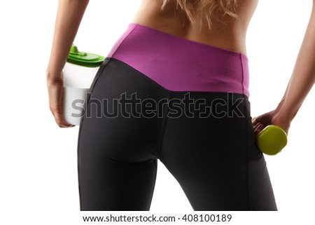 Closeup of a fitness model bottom - stock photo