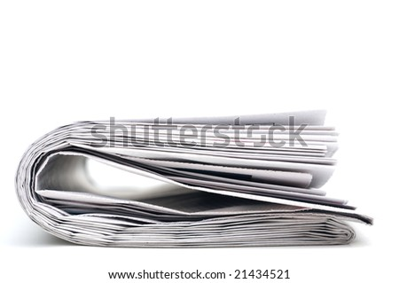 Closeup of a folder newspaper on white