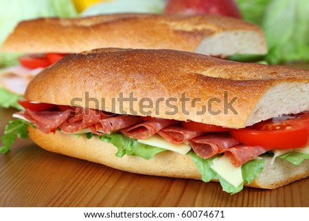 Closeup of a fresh sandwich with salami, swiss and tomatoes - stock photo