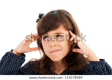 Closeup of a funny little girl thinking - stock photo