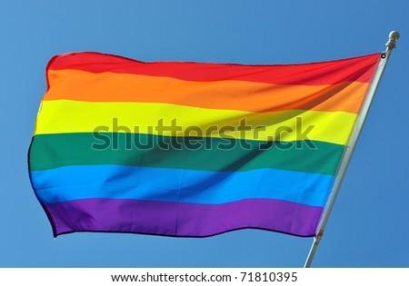 Closeup Of A Gay Pride Rainbow Flag - stock photo