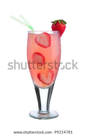 Closeup of a glass of strawberry daiquiri on a wet countertop and a white background.