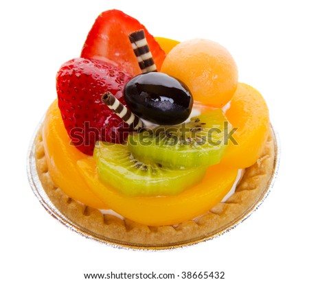 Closeup of a glazed fruit tart on a white background - stock photo