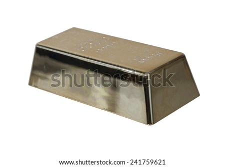 Closeup of a gold bar purchased as an investment - path included - stock photo
