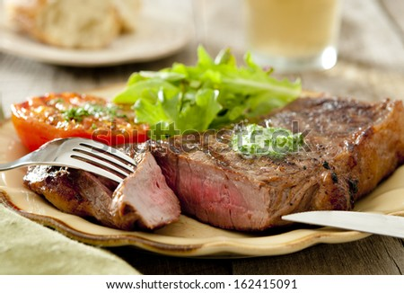 Closeup of a grilled steak with tomato and salad.