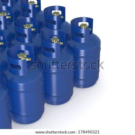 closeup of a group of methane gas cylinders (3d render) - stock photo