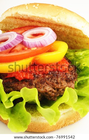 Closeup of a hamburger with bread, lettuce, sauce, pepper, tomato and onion - stock photo
