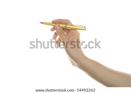 Closeup of a hand writing, on isolated on white background - stock photo
