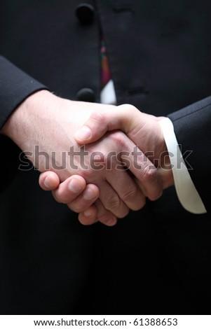 Closeup of a handshake - stock photo