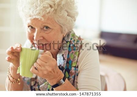 Closeup of a happy senior woman drinking tea - stock photo