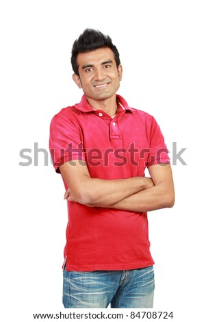 Closeup of a happy young man smiling isolated on white background - stock photo