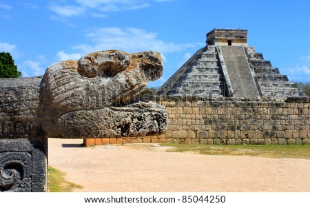 Closeup of a  head sculpture in the Mayan city of Chichen Itza in Mexico - stock photo
