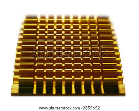 Closeup of a Heat Sink of a Computer CPU - stock photo