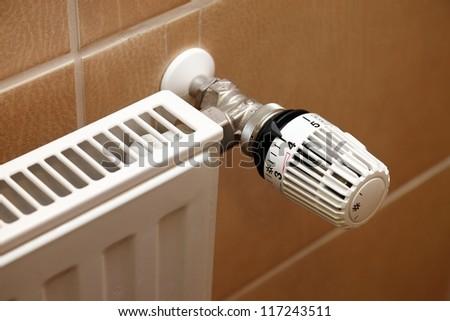 Closeup of a heating radiator - stock photo