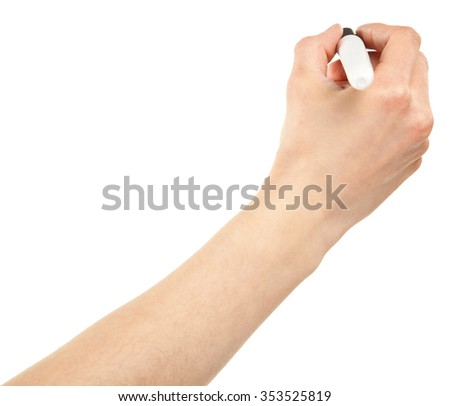 Closeup of a human hand writing with marker isolated on white; copy space