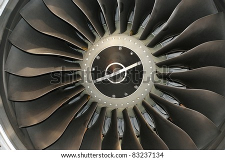 Closeup of a jet turbine. Blades of the airplane turbine - stock photo