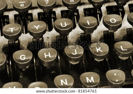closeup of a keyboard of an ancient typewriter - stock photo