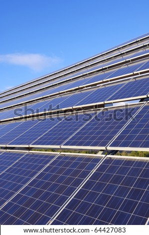 closeup of a large photovoltaic panel for electric power production - stock photo