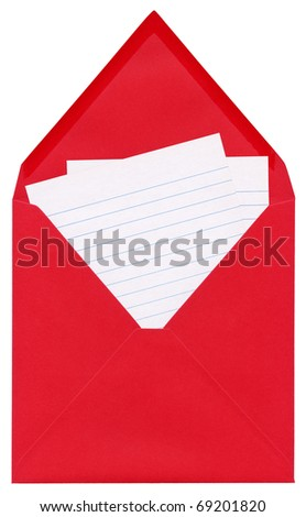 Closeup of a letter - open red square envelope with blank lined sheets of paper inside, isolated on white background - stock photo