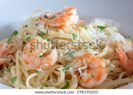 closeup of a linguine with shrimps - stock photo