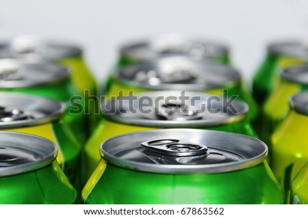 closeup of a lot of soda cans - stock photo