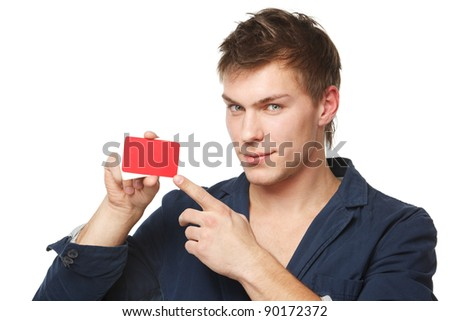 Closeup of a male holding blank credit card and pointing at it, isolated on white background - stock photo
