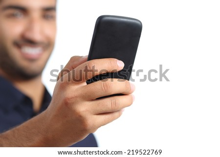 Closeup of a man hand using a smart phone isolated on a white background - stock photo