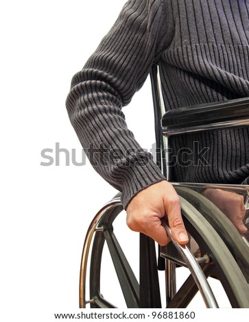 closeup of a man in a wheelchair - stock photo