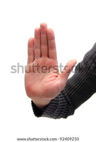 closeup of a man's hand that indicate to stop - stock photo