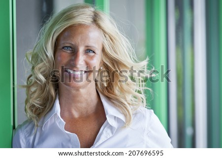 Closeup Of A Mature Woman Smiling - stock photo