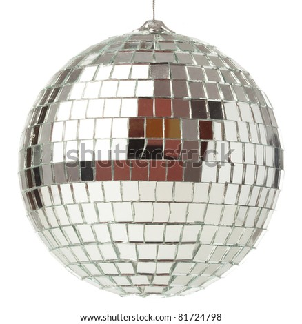 closeup of a mirror ball on a white background - stock photo