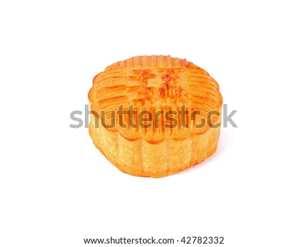 Closeup of a moon cake over white background