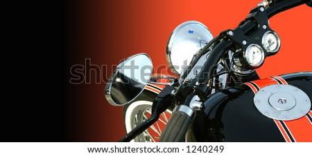 Closeup of a motorbike. No logo. With copy space. - stock photo