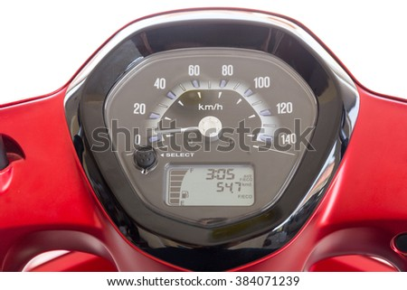 Closeup of a motorcycle speedometer on isolated,