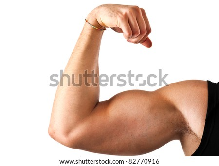 Closeup of a muscular arm isolated on white