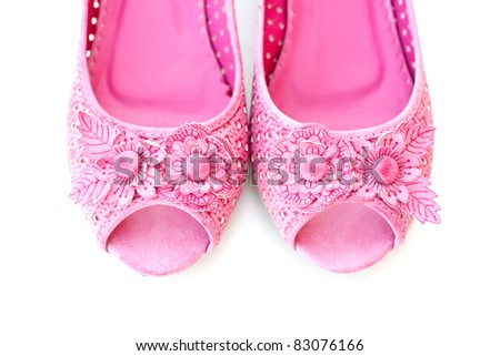 Closeup of a pair of pink shoes - stock photo