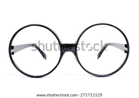 closeup of a pair of round-lens eyeglasses on a white background - stock photo