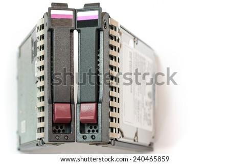 Closeup of a pair of server hard drives. SAS. - stock photo