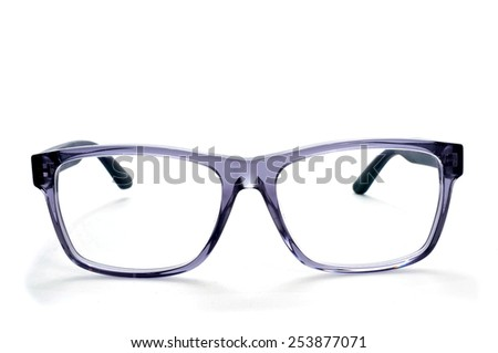 closeup of a pair plastic rimmed eyeglasses on a white background - stock photo