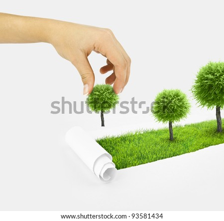 Closeup of a paper hole on grass background with tree. Hand plant small tree - stock photo
