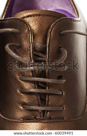 closeup of a patent leather shoe for man isolated on a white background - stock photo
