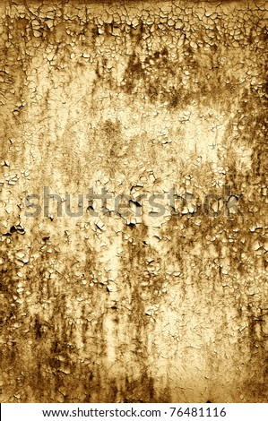 Closeup of a peeling wooden door in grunge - stock photo