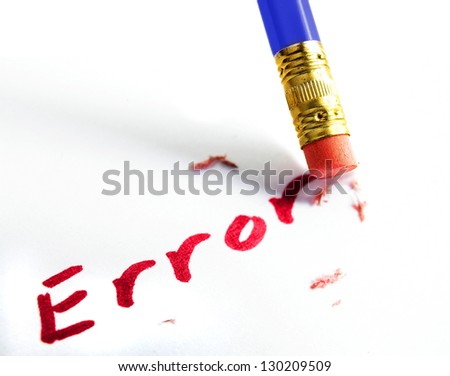 "closeup of a pencil erasing an ""error"" - stock photo"