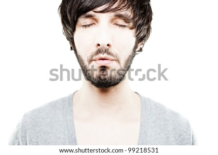 closeup of a person with closed eyes - stock photo