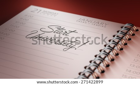 Closeup of a personal calendar setting an important date representing a time schedule. The words Start Studying written on a white notebook to remind you an important appointment.