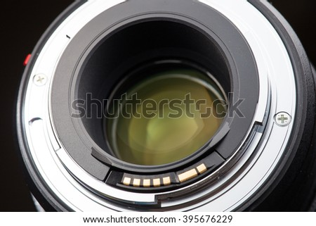 Closeup of a photographic lens - stock photo