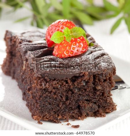 closeup of a piece of chocolate cake - stock photo